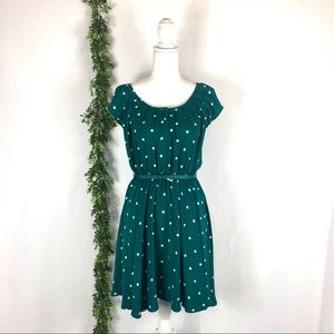 LC Lauren Conrad green polka dot dress